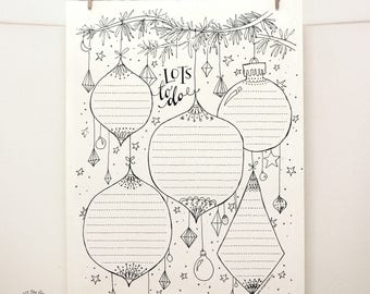 DOODLE Christmas To Do List / Organizer | Printable Letter pdf templates | Unique Holiday Planner Creative Artistic Management Reminder Tool