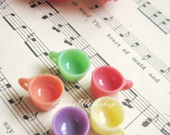 Cute mini cup, resin, 5 colors (Coral,orange,yellow,purple,green)