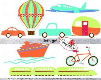 Let's Go Digital Clip Art Set: Hot Air Balloon Airplane Train Car Truck RV Bicycle Ship Travel Clipart (300 dpi transparent png)