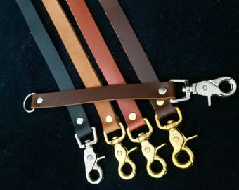 Purse Strap Extender, genuine leather bag strap lengthener, 3/4 inch wide, brass or silver scissor snap and D ring. Many lengths and colors