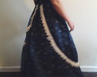Vintage Navy Poplin Prairie Maxi Dress