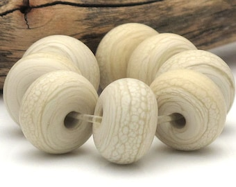 Handmade Lampwork Spacer Beads Matte Sandstone Pale Ivory SRA