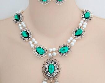 Renaissance Necklace & Earrings, Medieval Necklace, Tudor Necklace, Medieval Jewelry, Renaissance Jewelry, Elizabethan, Faire, Ready 2 Ship