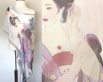 Vintage Novelty Scarf / Japanese Geisha / Ultra sheer / Asian Print / 1930s inspired