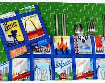 Vintage Postcards Zero Waste Roll Up Placemat Set