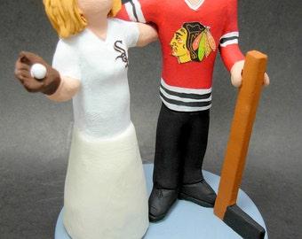 Chicago Blackhawks Hockey Wedding Cake Topper, Hockey Bride and Groom Wedding Cake Topper, NHL Hockey Wedding CakeTopper, Hockey Caketopper