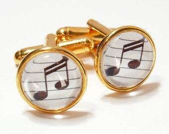 Gold Plated Music Note Cufflink Pair, Music Cuff Links, Sixteenth Note Cufflinks, Choice of Note Color, Musician Gift, Music Teacher Gift