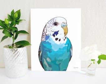 Parakeet Art Print, Blue Budgie Print, Parakeet Painting, Budgie Art, Parakeet Print, Parrot Print, Budgie Gift, Bird Memorial, Budgie Gift