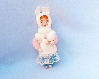 Spun cotton toy. Vintage Inspired Spun Cotton. Spun cotton ornaments. Handmade doll  miniature.  Christmas toy. Spun cotton retro. Gift baby