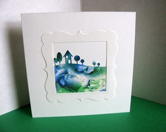 Royal Blue, Emerald Green Landscape on Creamy Ivory Square Card / House with Row of Trees / 5.5x5.5 inches / Ready to Ship