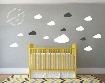 Cute Clouds vinyl wall decals for baby nursery. Boho, wall vinyls, Custom, you choose vinyl color, Baby boy, Baby Girl, easy to apply