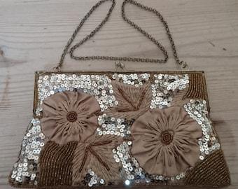 Vintage beaded sequin bag /evening purse