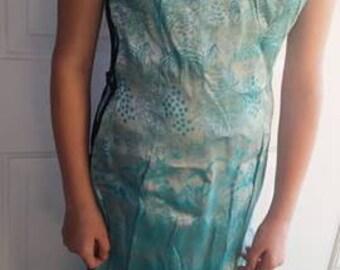 Vintage silk satin brocade Asian wiggle dress