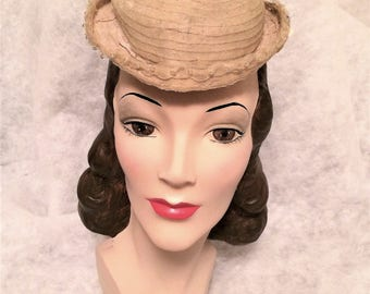 Antique Victorian 1870s Horse Hair Hat with Crystal Bead Trim