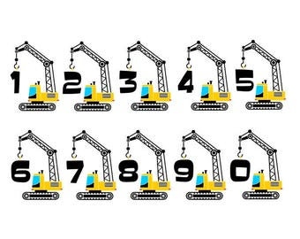Crane Construction Numbers Font Cuttable Design SVG PNG DXF & eps Designs Cameo File Silhouette