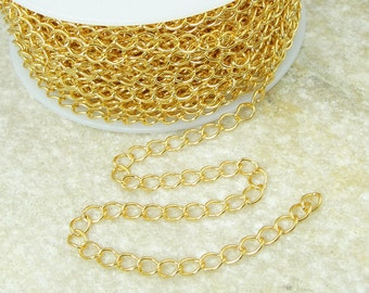 Gold Plated Extender Chain - Bright Gold Chain - Loose Chain for Necklaces or Bracelets with Soldered Links (FSCHG5)