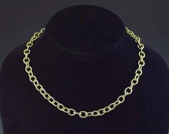 Modern 14k Gold Round Link Necklace/Chain