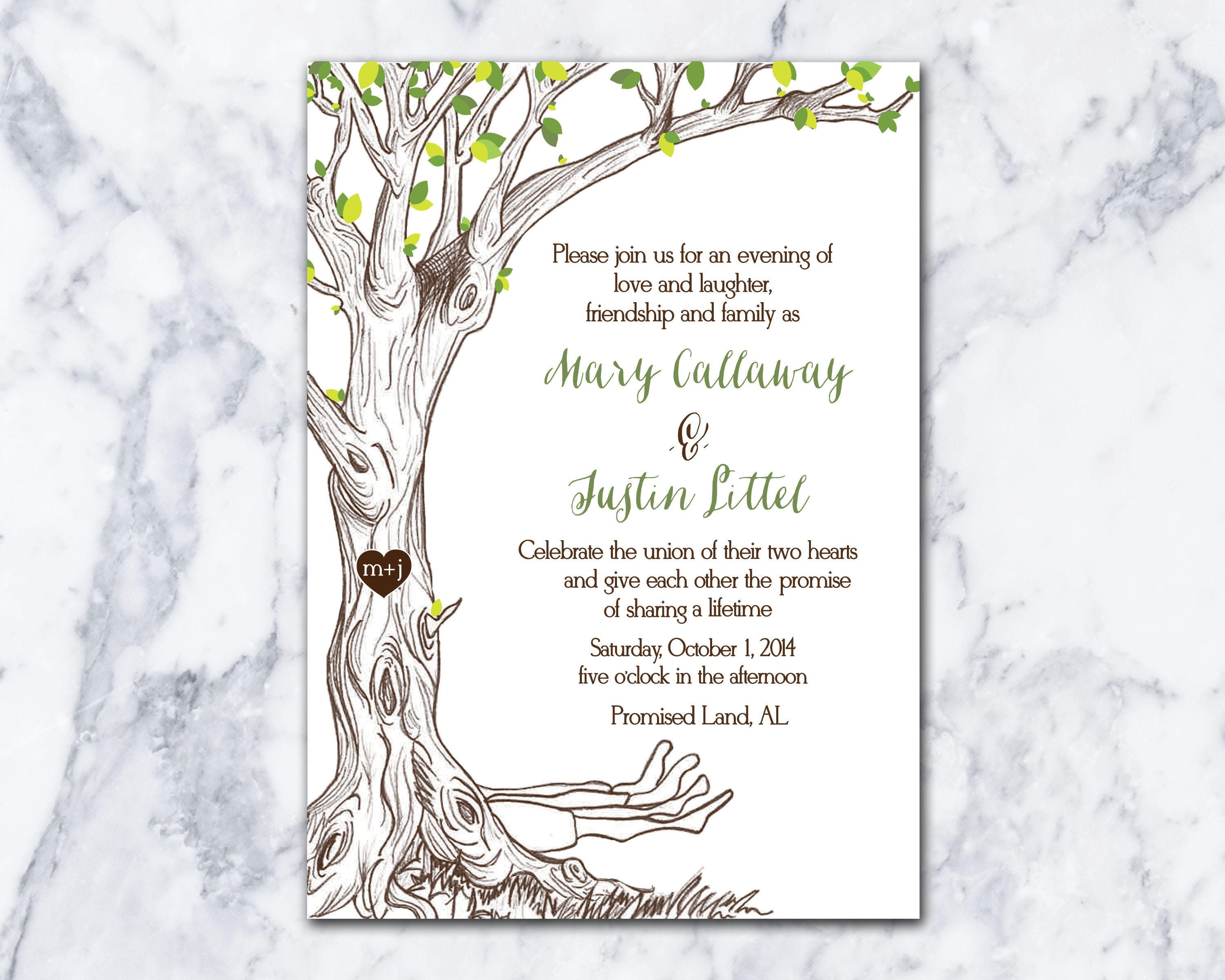 The Giving Tree Wedding Invitation Hand Drawn