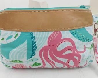 Curvy Clutch w/ Wrist Strap - Sea Life & Italian Lambskin Leather Vs.1