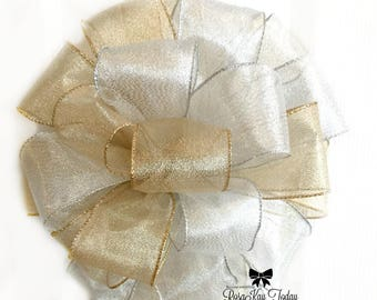 Silver Bow, Gold Bow, Silver and Gold Bow, Wedding Bow, Bridal Bow, Metallic Bow, Christmas Bow, Wreath Bow, Home Decor, Gift Bow, Gift Wrap