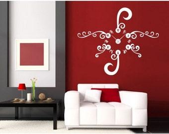 Floral Clock wall decal clock, sticker, mural, vinyl wall art