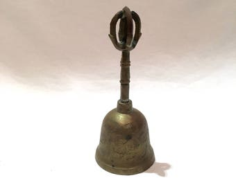 Brass bell from India with engravings, Servant's bell, Maid's bell, Dinner bell, Teacher's bell, School bell, Unique handle