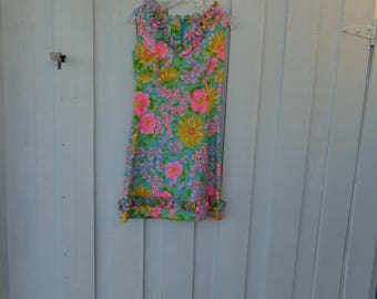VINTAGE 1960's Multicolor Hawaiian Flowered Print Dress by Elfriede for Twiggs - available