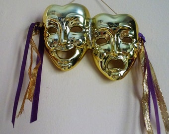 Vintage Ceramic Theater Masks Comedy Tragedy Golden Christmas Ornament