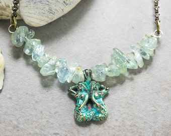 Aquamarine Mermaid Necklace, March birthstone, Beaded Blue Necklace, Beach wedding jewelry, bohemian nautical bridal necklace