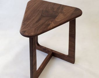 Walnut End Table - Contemporary Mid Century Modern Side Table in Solid Walnut