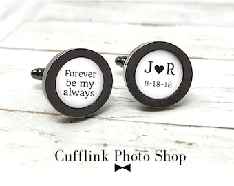 Monogram Cufflinks, Monogrammed Cufflinks For Wedding, Personalized Gift For Him, Forever Be My, Personalized Cuff Links, Initial Cufflinks