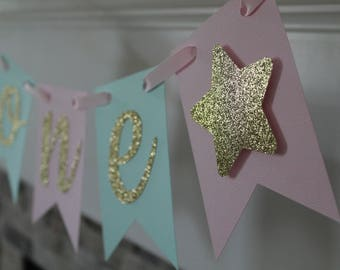 Twinkle twinkle little star high chair one banner | Twinkle star 1st birthday | Twinkle star party decor | Pink mint gold star one banner