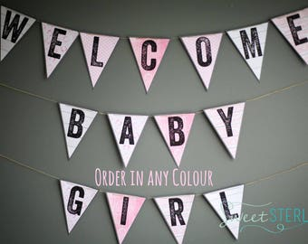 Welcome Baby Banner / Baby Shower Sign / Baby Shower Banner / Pink Baby Banner / Baby Banner / Baby Girl Banner / Baby Name Banner