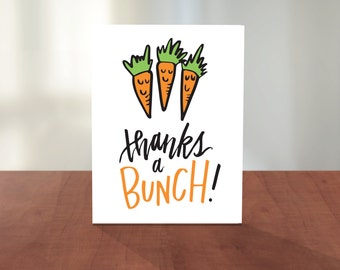 Thanks A Bunch Carrots Cute Illustrated Hand Lettered Thank You Gratitude Card