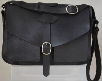 Black Leather Shoulder/Messanger Bag