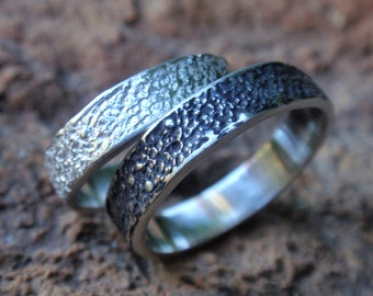 stardust textured unique wedding band set of 2 unisex sterling silver wedding rings - handmade jewelry - for men and women -