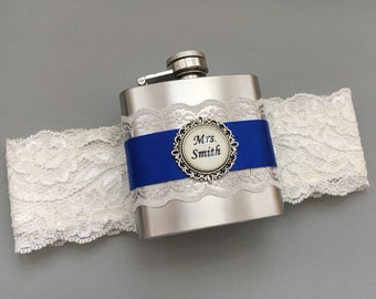 Ivory Wedding Garter, Royal Blue Bridal Garter, Wedding Garter with Flask, Something Blue Garter, Personalized FLASK GARTER - Gift for Bride
