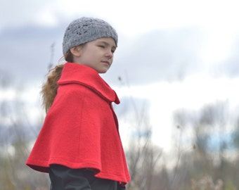 Girls Boiled Wool Red Cape- Little Red Riding Hood - Shrug Capelet- One size fits 3T to 5T