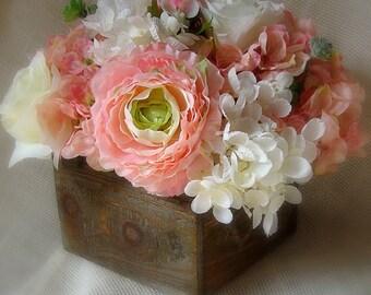 Blush silk flowers etsy rustic centerpiece pink and white rustic centerpiece blush centerpiece pink centerpiece blush silk flower centerpiece wedding flowers mightylinksfo