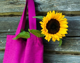 Linen bag with pockets. Softened linen shopping bag. Natural linen tote bag. Linen shoulder bag. Linen market bag. Linen beach bag