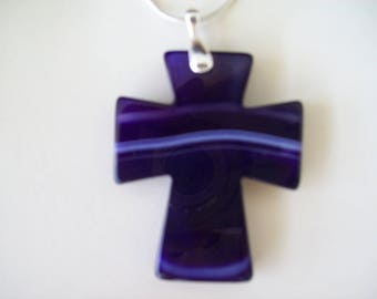 """Purple Agate Cross Pendant with Chain 2"""" long"""