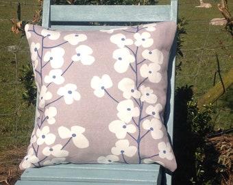 John Lewis Fabric Cushion Cover 'Wallflowers' Grey