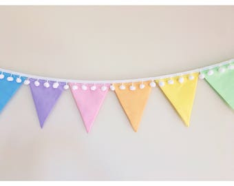 Pastel Rainbow Fabric Bunting with pom poms