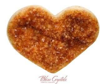 2 lb CITRINE Heart Madiera Druzy Specimen + Stand Healing Crystal & Stone Prosperity Positive Energy Success #HC02