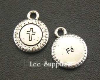 30pcs Antique Silver Round Cross Mini Tag Charms A1357