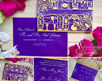 Egyptian hieroglyph laser cut gatefold wedding invitation Egypt party lotus flowers eye of horus