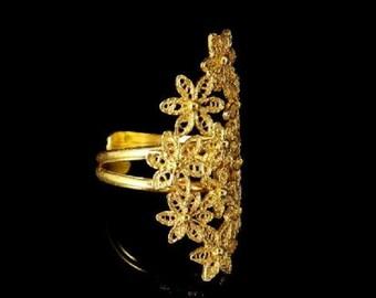 Elegant Ring in Golden Silver *Bague D'Argent * Filigree Handmade* Made Portugal