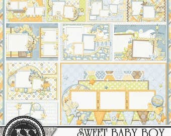 On Sale 50% Sweet Baby Boy 5x7 Brag Book Premade Pages Digital Scrapbooking Kit