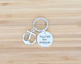 hand stamped keychain   you're my anchor
