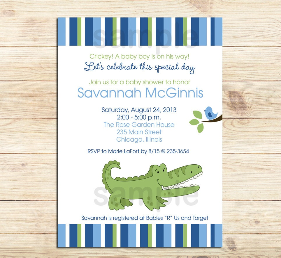 Alligator Baby Shower Invitations / Printed or Printable /